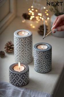 Grey Set of 3 Ceramic Tealight Holders