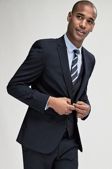 Navy Blue Stretch Tonic Suit: Jacket