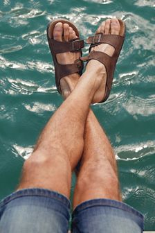 Brown Two Buckle Leather Sandals
