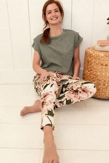 Khaki Floral Cotton Pyjamas