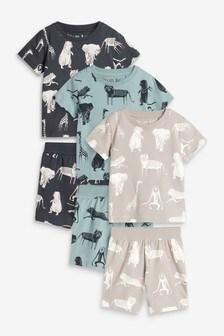 Natural Animal 3 Pack Short Pyjamas (9mths-12yrs)