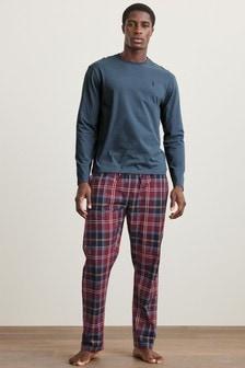 Blue/Burgundy Check Lightweight Motionflex Pyjama Set