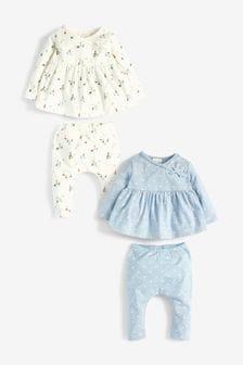 Blue 4 Pack Organic Cotton Spot/Boat T-Shirts And Leggings Set (0mths-2yrs)