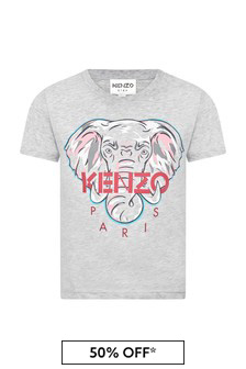 Kenzo Kids Girls Grey Cotton T-Shirt