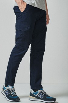 Navy Cotton Cargo Trousers