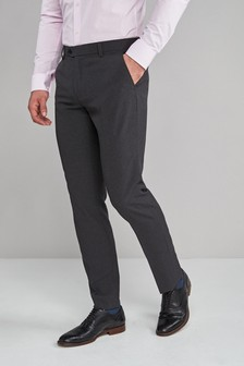 Charcoal Machine Washable Plain Front Trousers