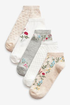 Oatmeal Textured Floral Trainer Socks 5 Pack