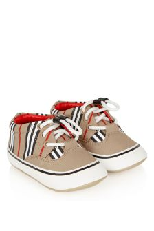 Burberry Kids Baby Beige Cotton Shoes