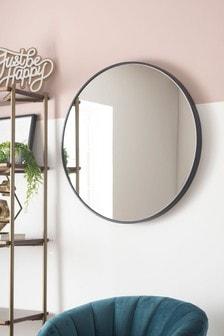 Black Large Round Mirror