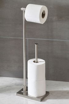 Floor Standing Toilet Roll Holder Chrome Bathroom Utility New
