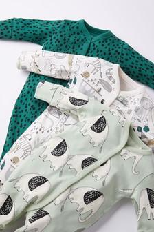 Green 3 Pack Elephant Sleepsuits (0-2yrs)