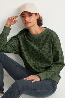Khaki Animal Printed Sweatshirt
