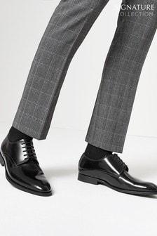 Black Hi-Shine Signature Leather Plain Derby Shoes
