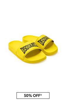Dsquared2 Kids Boys Yellow Sliders