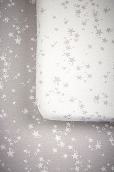 Grey 2 Pack Grey Stars Cot Fitted Sheets