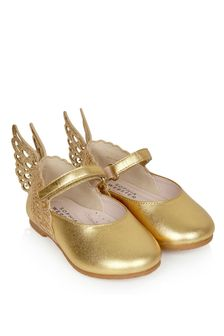 Sophia Webster Girls Gold Evangeline Flats