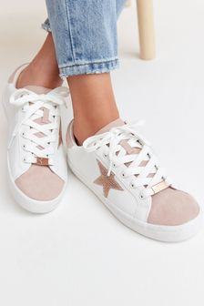 White/Rose Gold Forever Comfort® Star Lace-Up Trainers