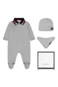 GUCCI Kids Boys Grey Cotton Pique Babygrow Gift Set (3 Piece)