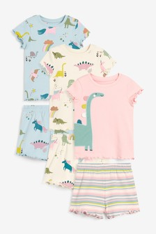 Pink/Cream/Blue 3 Pack Short Sleeve Dinosaur Snuggle Pyjamas