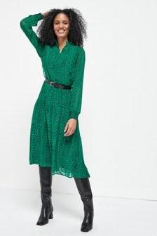 Green Spot Midi Tiered Shirt Dress