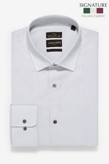 Grey Signature Canclini Regular Fit Stripe Shirt