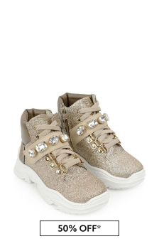 Monnalisa Girls Gold Glitter Boots