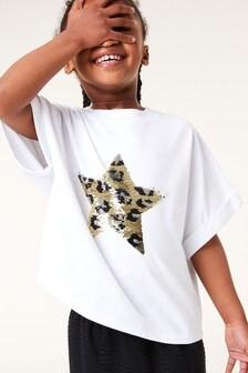 White Flippy Sequin Animal Star T-Shirt (3-16yrs)