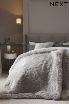 Grey Grey Long Faux Fur Throw