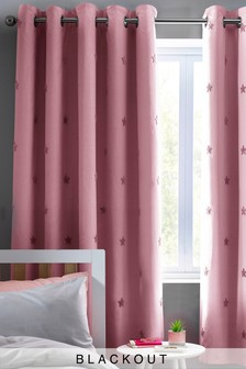 Pink Pink Tufted Star Eyelet Blackout Curtains
