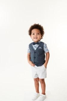Blue Waistcoat, Shirt and Shorts Set (3mths-9yrs)