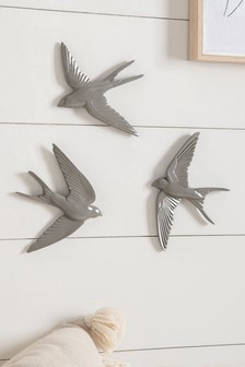 Grey Set of 3 Swallow Plaques