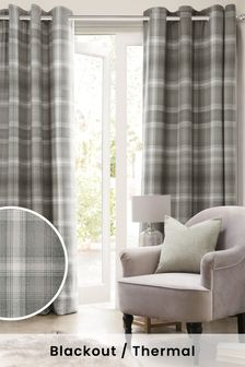 Grey Cosy Check Eyelet Blackout/Thermal Curtains