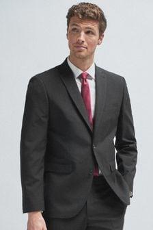 Black Wool Mix Textured Suit: Jacket