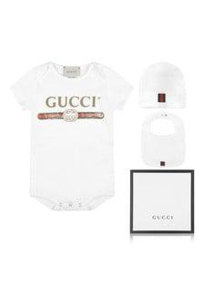 GUCCI Kids White Bodysuit Gift Set