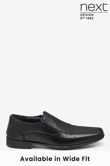 Black Leather Panel Slip-On Shoes