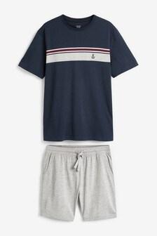 Navy Chest Stripe Short Pyjama Set
