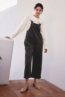Charcoal Cotton Wide Cropped Dungarees
