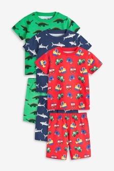 Multi 3 Pack Multi Print Short Pyjamas (9mths-8yrs)