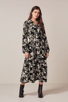 Black/White Dogtooth Midi Dress