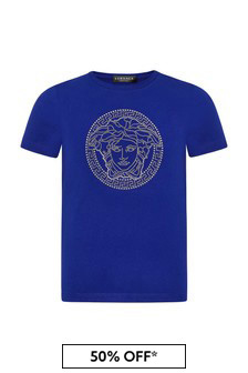 Versace Boys Blue Cotton T-Shirt