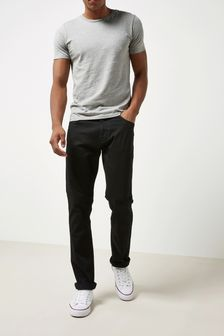 Solid Black Jeans With Stretch