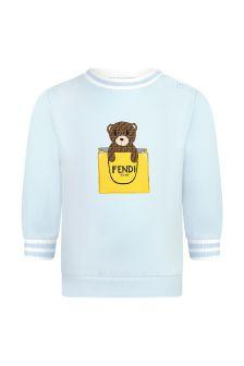 Fendi Kids Baby Boys Blue Cotton Sweater