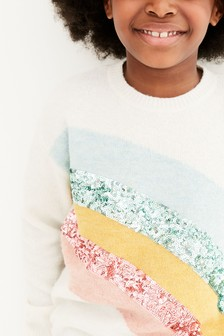 Ecru Sequin Rainbow Jumper (3-16yrs)