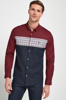 Burgundy Colourblock Gingham Stretch Oxford Shirt