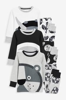Monochrome Animal 3 Pack Snuggle Pyjamas (9mths-12yrs)