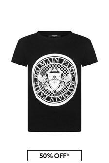 Balmain Black Cotton Logo Print T-Shirt