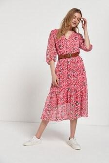 Pink V-Neck Belted Dress