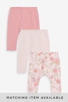 Pink Spot/Floral 3 Pack Leggings (0mths-3yrs)