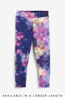 Blue/Pink Space Print Sports Leggings (3-16yrs)