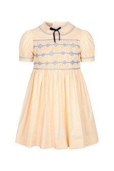 GUCCI Kids Girls Cream Cotton Dress